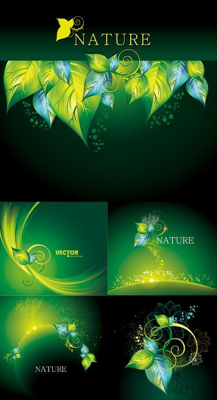 浪漫蝴蝶泡泡背景矢量素材 幻光效果背景矢量素材 绿色树叶主题边框