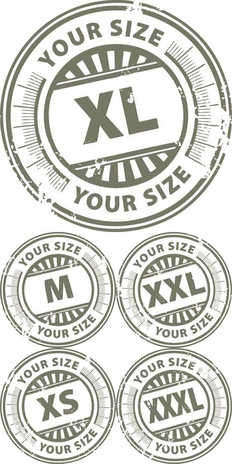 衣服尺寸标签矢量素材