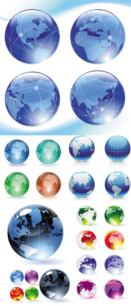 水晶立体地球矢量素材