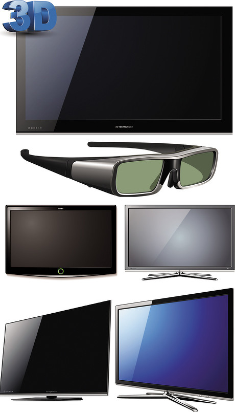 3d电视和3d眼镜矢量素材