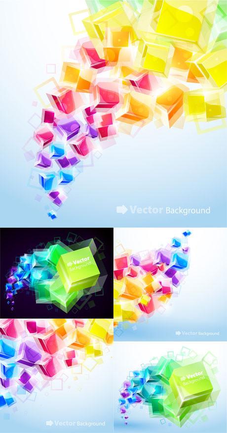 炫彩立体方块背景矢量素材
