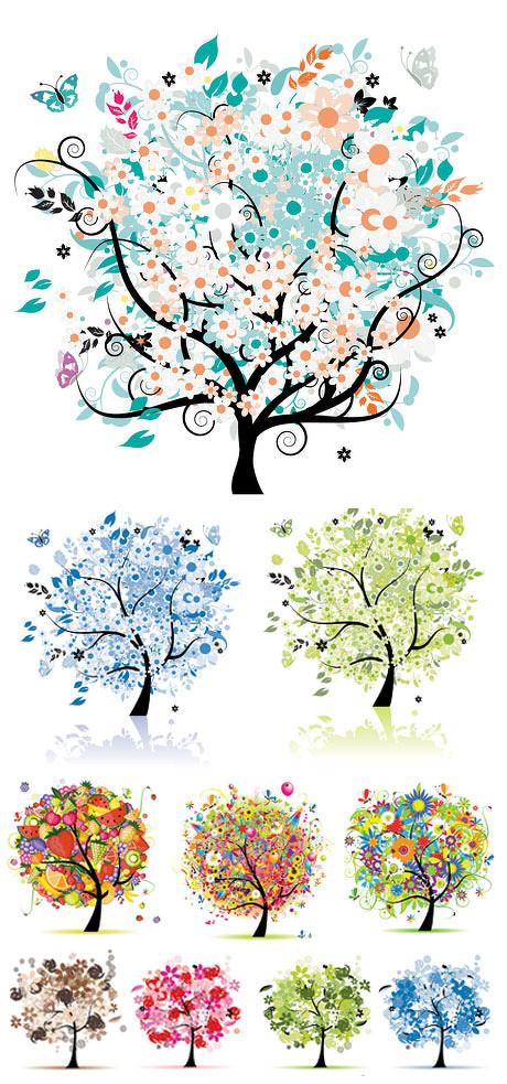 精美抽象树矢量素材
