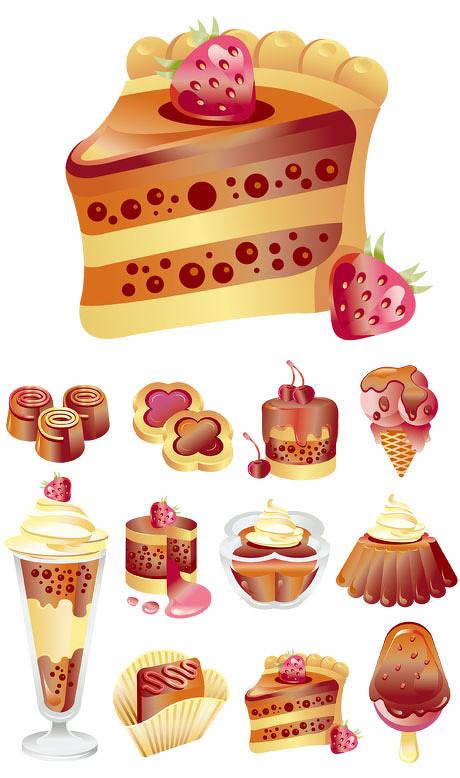 多款甜点蛋糕矢量素材