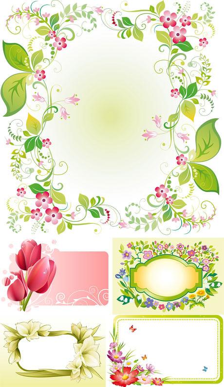 精美花朵边框矢量素材