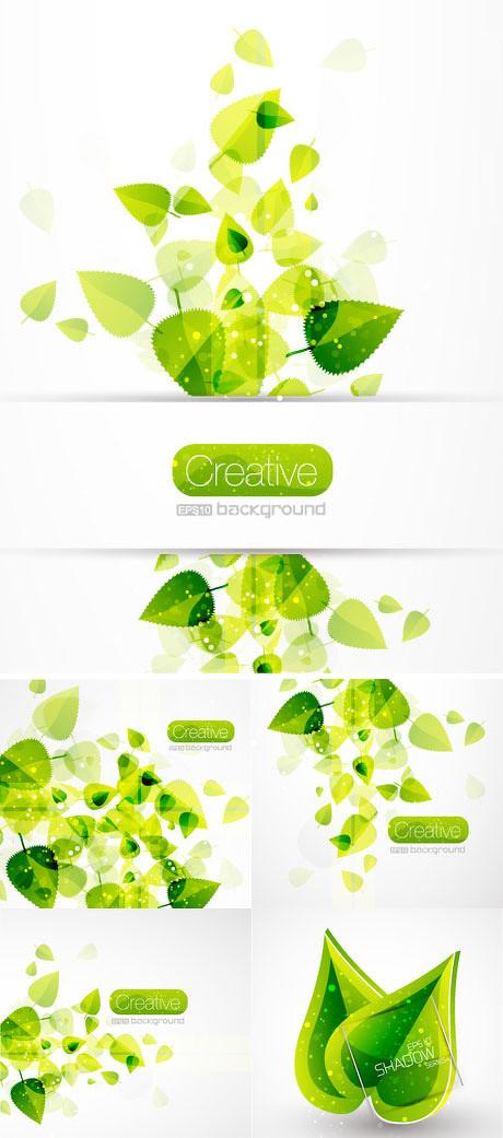 绿叶设计元素背景矢量素材