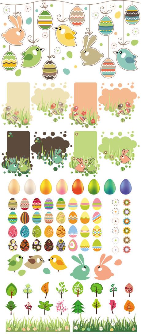 卡通小动物和彩蛋矢量素材