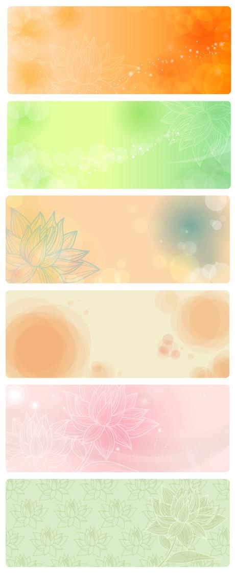 淡彩花朵背景设计矢量素材  关键字: 淡雅背景花纹朦胧荷花水泡柔美