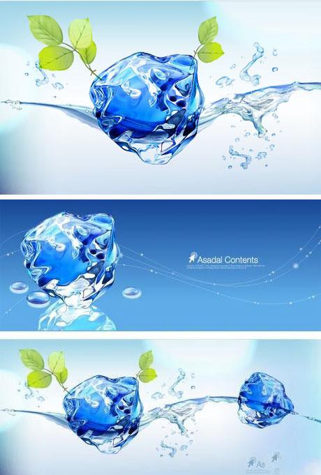 亮晶晶冰块banner矢量素材