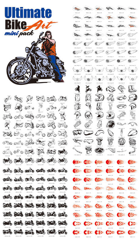 多款炫酷摩托及配件矢量图