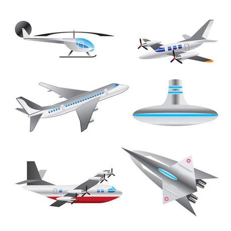 飞机直升机飞行器矢量素材