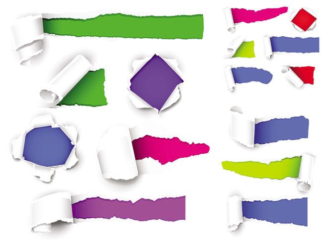 缤纷色彩撕纸效果背景矢量素材
