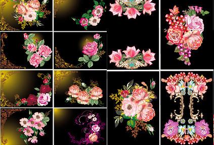 复古花朵纹样矢量素材