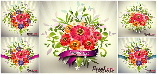 鲜艳花卉背景矢量素材