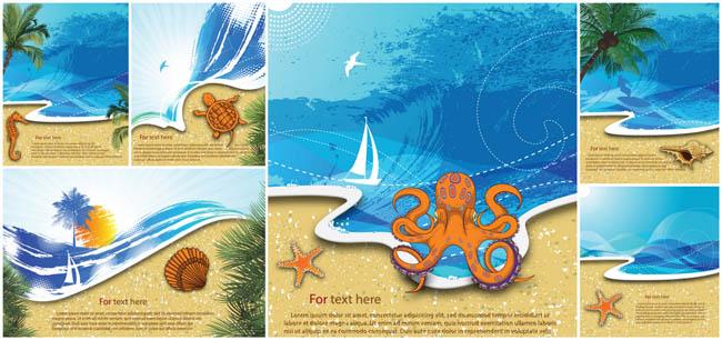 插画春天海报设计矢量素材 春季童话场景设计矢量素材 唯美海边风景