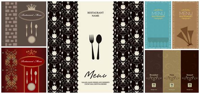 古典华丽花纹欧式菜单封面设计矢量素材
