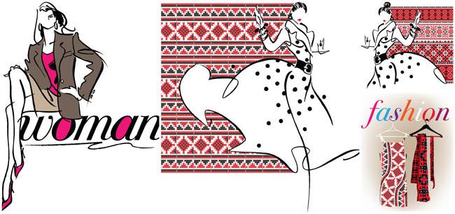 手绘女性时尚民族风衣着矢量素材