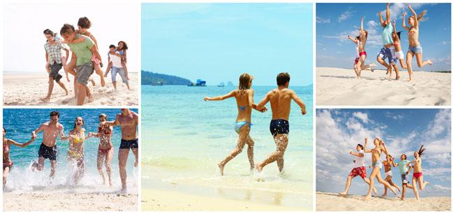 海边奔跑的人物高清图片