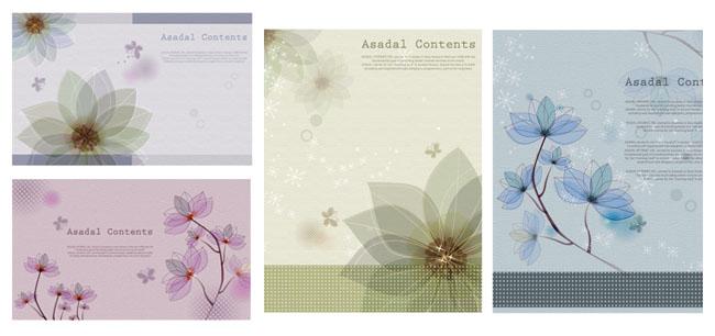 淡彩花卉背景矢量素材