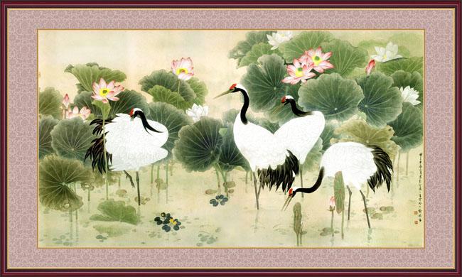 荷花仙鹤中国风设计psd素材 白鹤迎客松psd分层素材 鹿鹤牡丹图psd
