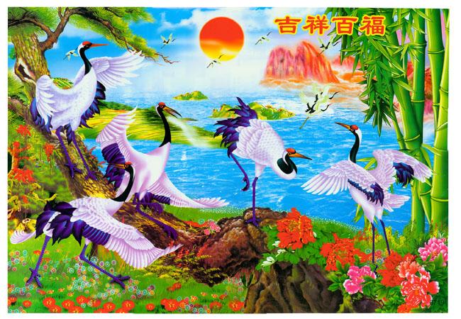 经典壁画仙鹤太阳松树竹子吉祥百福牡丹花