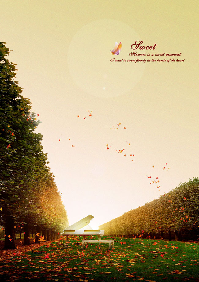 秋天大树钢琴风景素材
