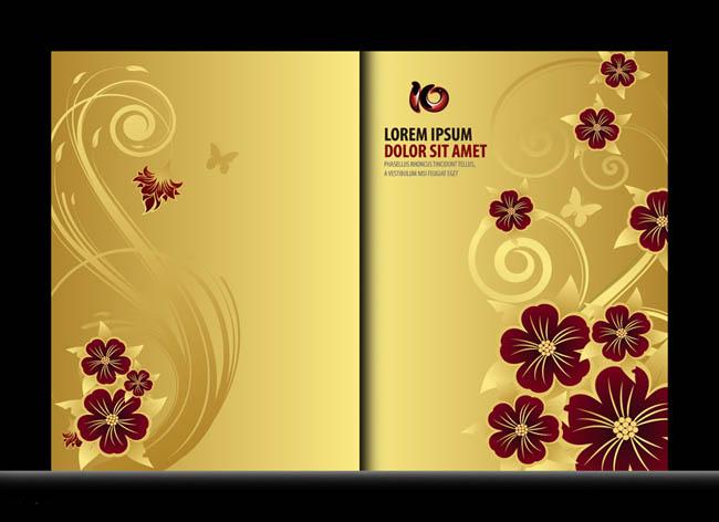 歐式金色質感畫冊封面設計矢量素材