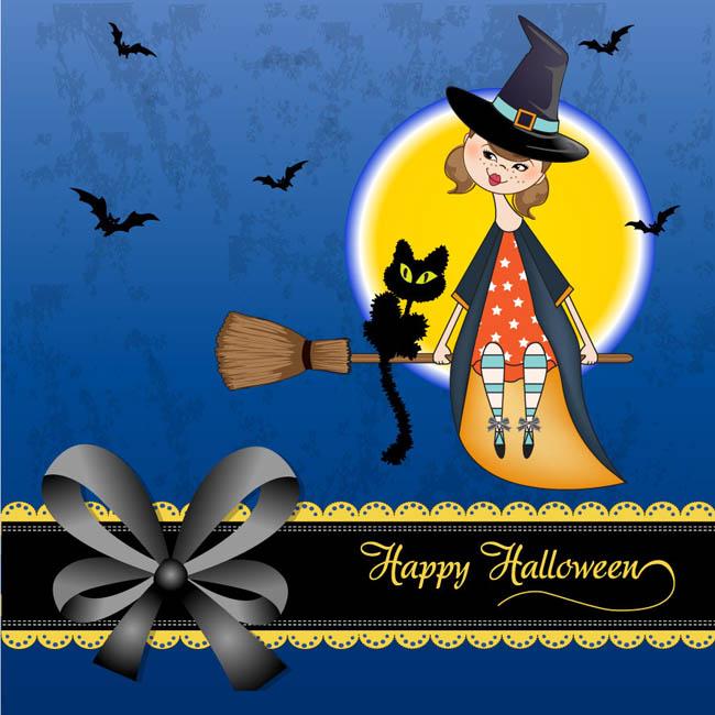 万圣节巫师黑猫背景矢量素材