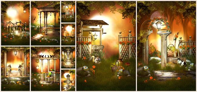 橙色主题影楼背景图片