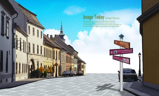 西方城市街道场景设计psd素材