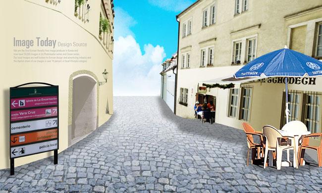 城市欧式古典楼房psd素材