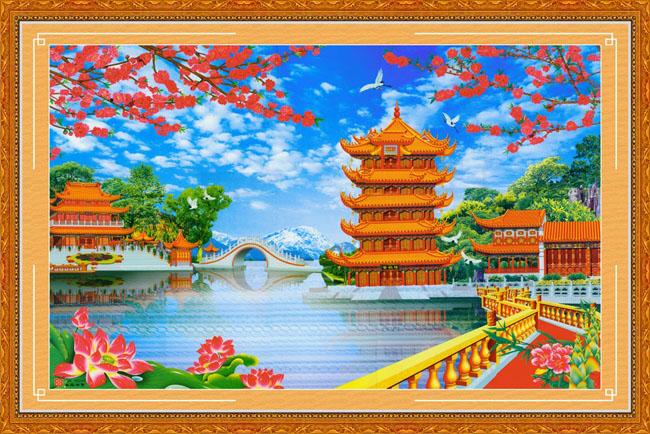 山水桃花荷花塔桥湖风景秀丽蓝天白云春天背景中堂画