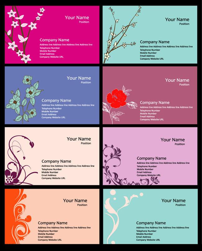 花卉名片模板设计矢量素材