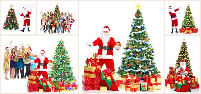 圣诞老人与圣诞树图片素材