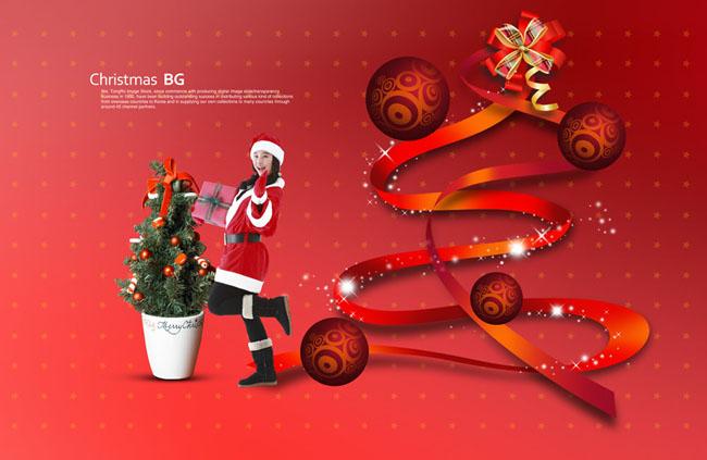 红色圣诞节美女psd素材图片
