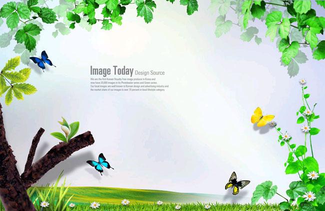 花藤绿叶边框psd素材 植物绿色概念相框psd素材 枫叶花边模板psd分层
