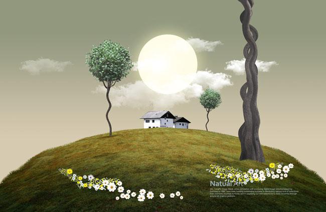 自然房屋景观psd素材