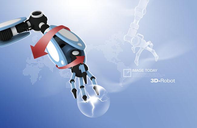 现代科技机器人金融psd素材图片