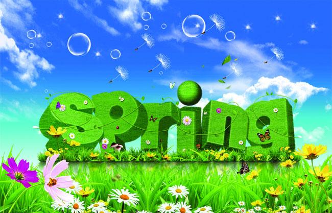 春天艺术字蓝天白云草地spring花朵泡泡