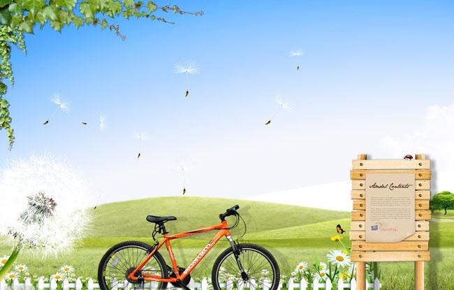 栅栏自行车春季海报背景psd素材