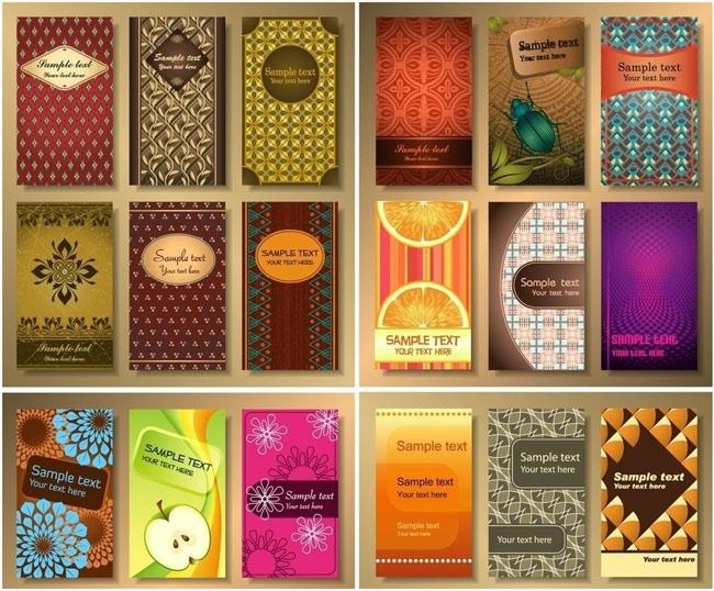 绿色绿叶名片卡片设计矢量素材 淡雅紫色金色名片卡片设计矢量素材