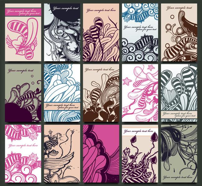 复古欧式花纹花朵名片卡片设计矢量素材