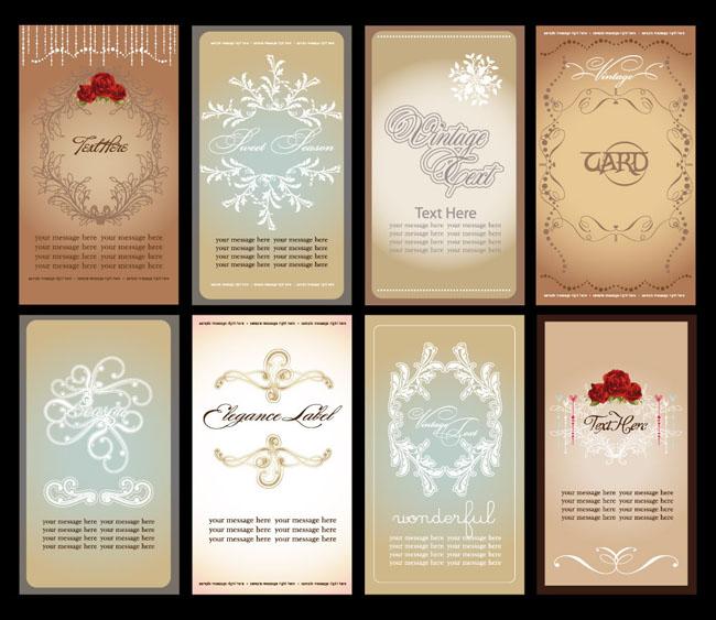 欧式花纹边框名片卡片设计矢量素材