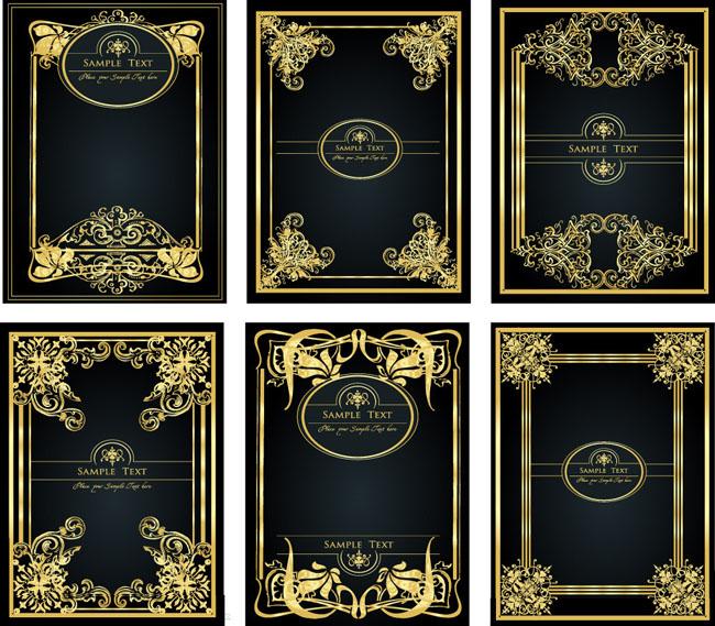 时尚金色欧式花纹边框矢量素材