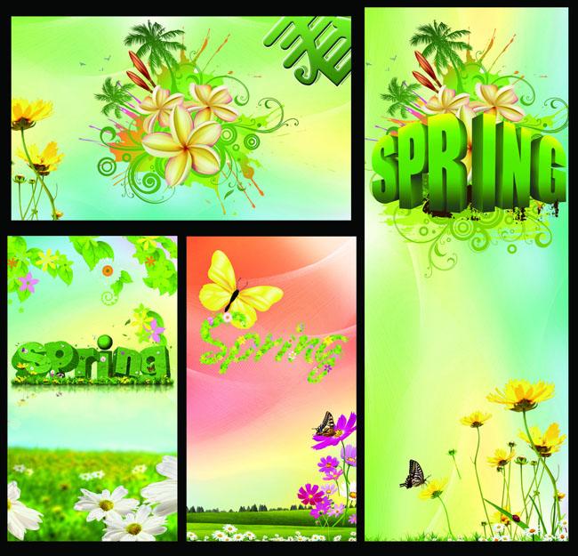 春天卡通展板设计psd素材 绿色春天展板设计psd素材 春天幼儿园展板