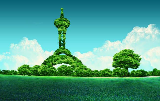 环保建筑海报背景设计psd素材