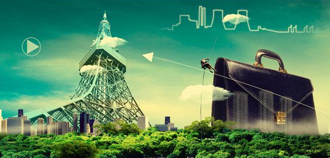 埃菲尔铁塔企业创意广告设计模板
