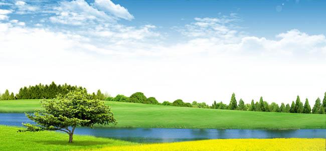 蓝天白云自然风景psd素材