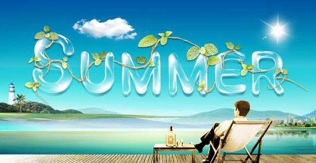 海边清凉夏天海报设计psd分层素材