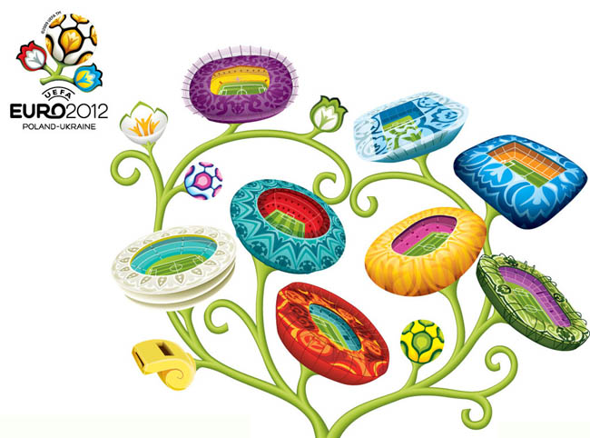 2012年欧洲杯体育场造型矢量素材 - 爱图网设计图片