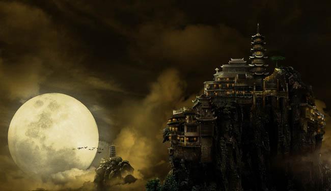 迷山月亮城堡梦幻背景psd素材